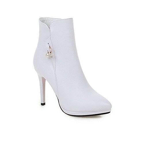 Bianco Bianco Scarpe Tacco Puro Altezza Donna VogueZone009 VogueZone009 Cerniera Punta Stivali Spillo A Bassa A qOa7WBWU