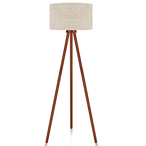 Lepower Tripod Floor Lamp Mid Century Modern Standing Light E26 Lamp Base Flaxen Lamp Shade Wood Floor Reading Lamp For Living Room Bedroom