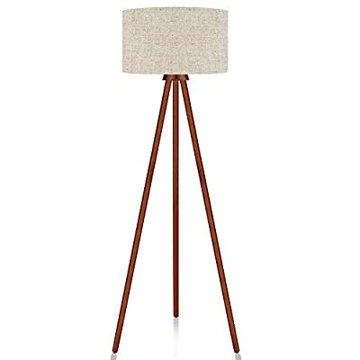 LEPOWER Tripod Floor Lamp, Mid Century Modern Standing Light, E26 Lamp Base, Flaxen Lamp Shade, Wood Floor Reading Lamp for Living Room, Bedroom, Study Room and Office - HIGH QUALITY MATERIAL: The lamp consists of high-quality Nature Rubber wood tripod and flaxen TC cloth, which is enduring, durable and aesthetic. It's sturdy design makes it wobble free and safe to have around children and pets. STYLISH DESIGN: LEPOWER wooden tripod torchiere lamp fits in modern architecture and decor. It has a unique stem with three rounded wooden holders that makes the lamp stable enough. It's rounded lamp shade looks gorgeous and modern in almost any room in your home or office. BULB REQUIREMENTS: Bulb is not included in the package. With an E26 sized screw base, the bulb can be installed as desired. To avoid overheating, we suggest you using LED bulb 10W-12W, energy saving bulb 12W-20W, incandescent bulb 20W-40W (40W MAX). - living-room-decor, living-room, floor-lamps - 31K3SclXSWL. SS400  -
