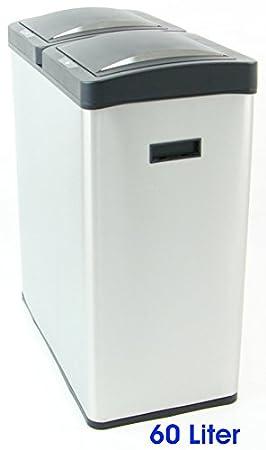 60 Liter Sensor Abfalleimer Edelstahl 2 X 30 Liter Mulltrennung