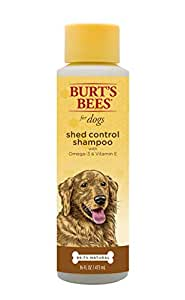 Burt's Bees for Dogs Natural Shed Control Shampoo with Omega 3s and Vitamin  E   Puppy and Dog Shampoo, 16 Ounces