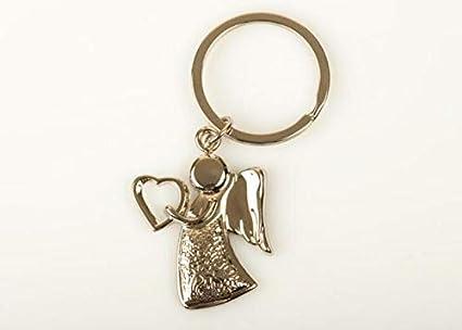 12 PIEZAS Llavero de metal en forma de ángel con corazón ...