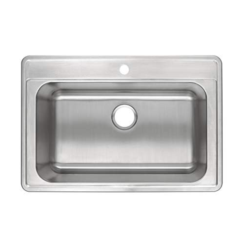 ZUHNE Drop-In Top Mount or Over Mount One Deck Hole Single and Double Bowl Stainless Steel Kitchen Sink (33x22 Single)