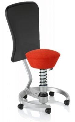Aeris Swopper Classic - Bezug: Microfaser / Ferraro-Rot | Polsterung: Tempur | Fußring: Titan | Universalrollen für alle Böden | mit Lehne und schwarzem Microfaser-Lehnenbezug | Körpergewicht: SMALL