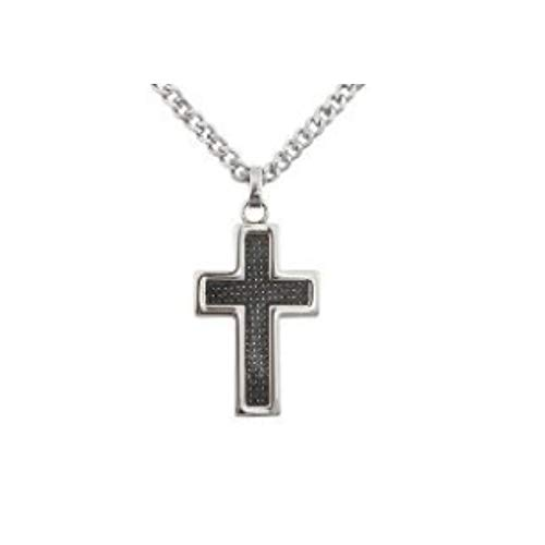 GL Creations Stingray Men's Stainless Steel Carbon Fiber Cross Pend on 20