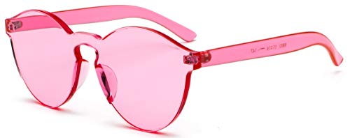 J&L Glasses Fashion Rimless One Piece Clear Lens Color Candy Sunglasses ()