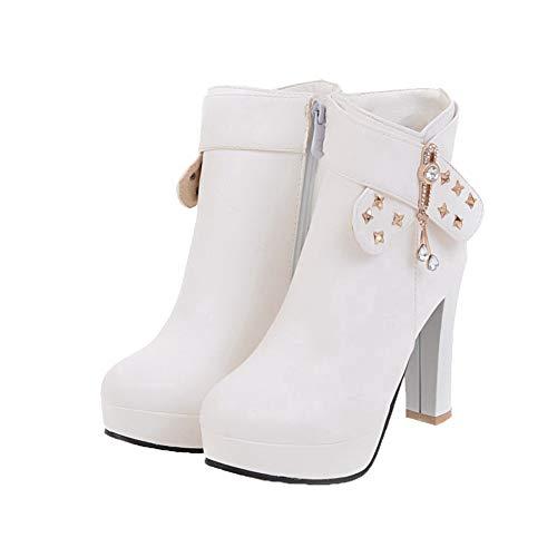 Toe Pu White High Low GMDXB125704 Top Heels Boots Zipper Women's AgooLar Closed PYFttI