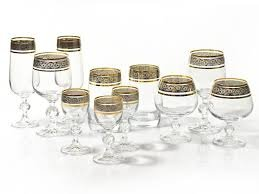 "Bohemia Crystal""Claudia"" Celebration Gold Rim Crystal Glassware Set - 6 pcs each: Wine Glasses, Champagne Flutes, Liqueur Glasses & Cognac Glasses"
