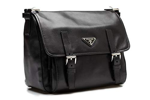 Prada Black Soft Calf Leather Pattina Nero Shoulder Bag Satchel with Silver hardware BT953L