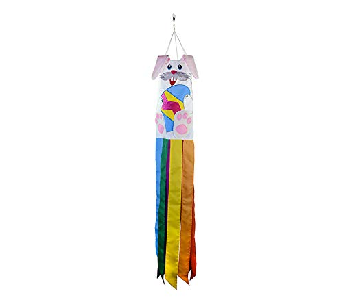 Outdoor Garden Backyard Décor Bunny 3D Windsock-Easter Holiday Hanging Decoration, 40 Inch