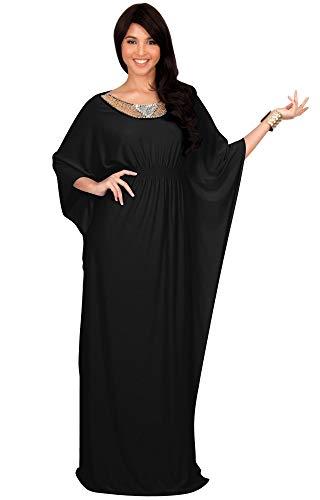 KOH KOH Plus Size Womens Long Kaftan Caftan Flowy Casual Abaya Summer Evening Formal Party Bohemian Maternity Modest Moroccan Muslim Fancy Gown Gowns Maxi Dress Dresses, Black XL 14-16