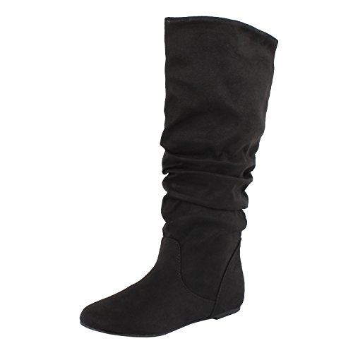 hot sale 2017 Soda Shoes Zuluu Slouch Boots, Black Suede, 10