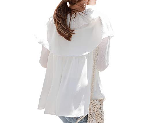 Manches Femmes Longues Jabot Nanxson Col CSW0061 Blanc Blouse Blanc Chemisier Dentelle avec O8EwH0qS