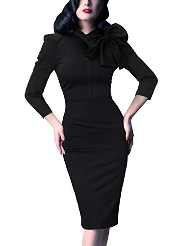 (VFSHOW Womens Celebrity Vintage Black Bowknot Cocktail Party Stretch Bodycon Sheath Dress 1226 BLK XS)