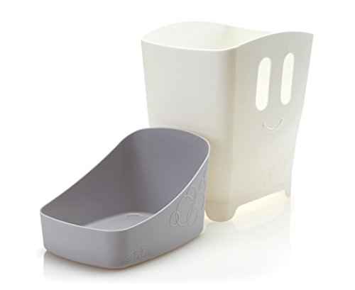 31K3e XpRnL - Ubbi Freestanding Bath Toy Organizer Bath Caddy with Removable Drying Rack Bin and Scoop for Bath Toys for Toddlers + Baby - Gray