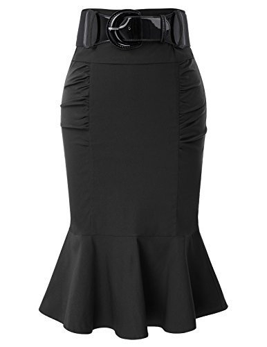 Belle Poque Women Skirt High Waist Slim Fit Pencil Skirt Pleated Skirts Black S BP627-1