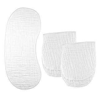 Kyapoo Burp Cloths Large 25.2x11 6 Layers 100% Cotton 3 Pack White