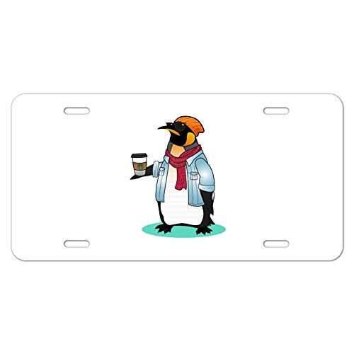 Cool Penguin Hipster with Coffee Novelty Metal Vanity Tag License Plate - Lisences Plate Flipper