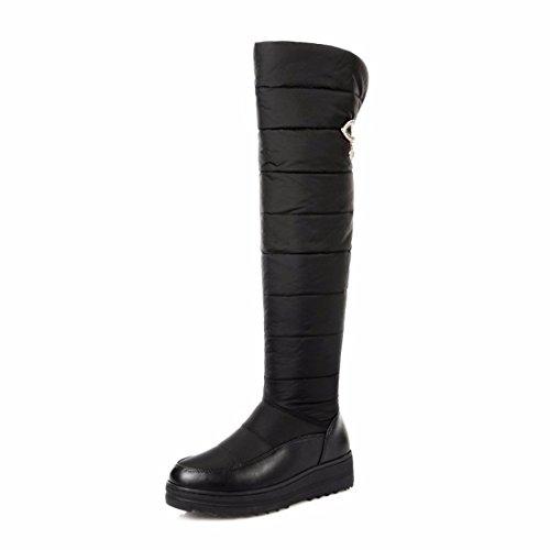 La nieve del invierno botas botas botas altas de tamaño engrosamiento de la rodilla black
