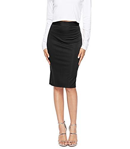 CEASIKERY Women's Elastic Waist Stretchy Office Pencil Business Work Skirt (Classic Elastic Waist Skirt)