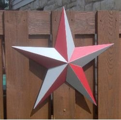 etal Barn Star Painted Scarlet & Gray. Express Your Enthusiasm for Your High School, College, or National League Team. This Tin Barn Star Measures Approximately 53