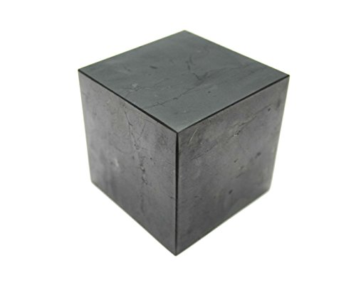 Karelian Heritage Shungite Cube for EMF Protection Highly-Protective Crystal Cube 80 mm 3.14 inches , Polished CP07
