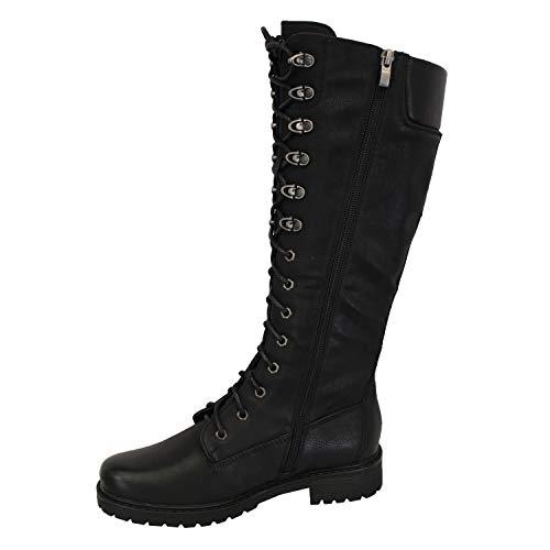 Militare Al Polpaccio Inverno Con Stivali Nero Zip Scarpe Weide Hfn8686 Ginocchia Alti Donna Lacci Laterale wpnaIv