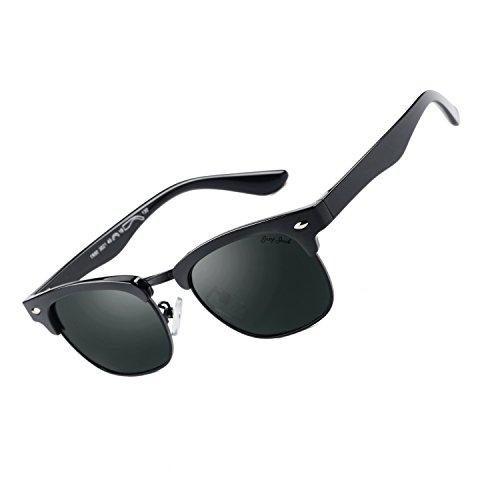 GREY JACK Polarized Clubmaster Mirrored Sunglasses for Kids Children Girls Boys Fashion Half Frame Black - Best Sunglasses Clubmaster
