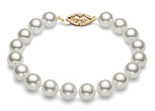 14K Or jaune blanc japonais Akoya Bracelet Perle de culture de qualité AA + (6,5-7mm)