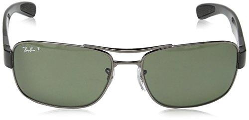 Ray-Ban Mens Steel Man Polarized Rectangular Sunglasses, Gunmetal, 61 mm