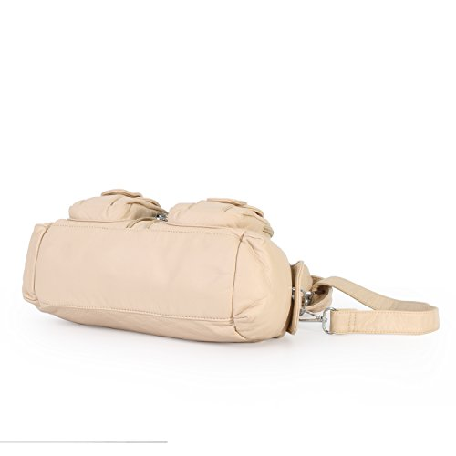 Zippers Women Barcelo Shoulder Bags Multi Pockets Top Purse Beige Angel 3 Handbags Mini PU Leather zHCIFqwnI