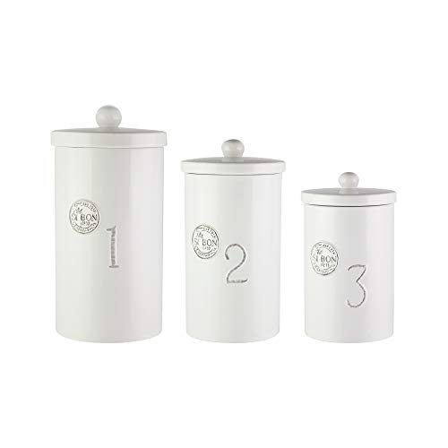 American Atelier Canister Set 3-Piece Ceramic Jars in Small, Medium, Numbers Embossed Design w/Airtight Lids for Cookies, Candy, Coffee, Flour, Sugar, Rice, Pasta, Cereal & More