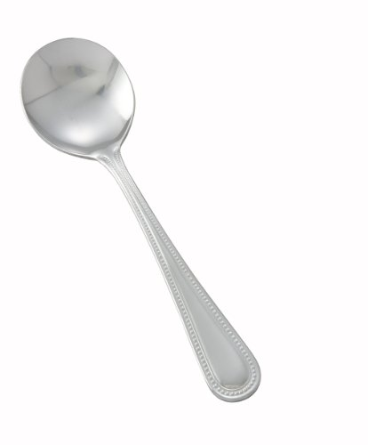 Winco 0005-04 12-Piece Dots Bouillon Spoon Set, 18-0 Stainless Steel