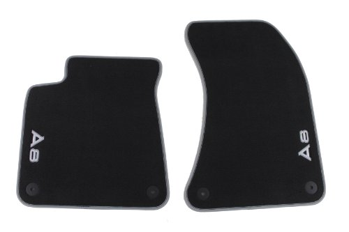 Genuine Audi Accessories 4H1061275MNO Black Front Premium Carpeted Floor Mat for Audi A8, (Set of 2) (Audi A8 Set)