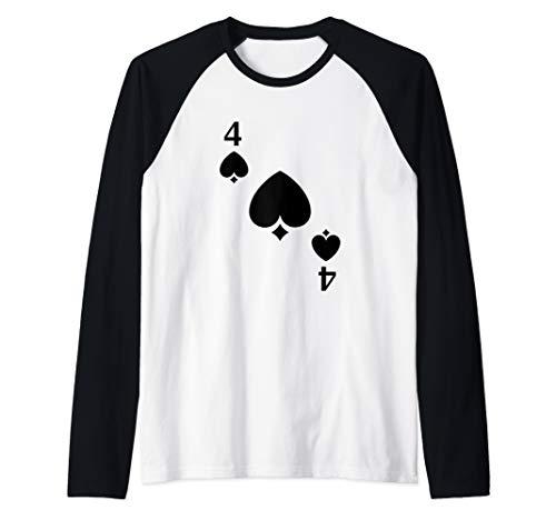 Four of Spades Playing Card Costume Halloween Deck of Cards  Raglan Baseball Tee -