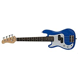 EDMBG Left Handed Electric Base Guitar, Small Scale 36 Inch Children's Mini Sized 36 in Full Length, Color: Blue