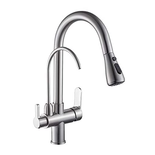 Kitchen WANFAN Kitchen Sink Faucet with Pull Down Sprayer 2 Handle 3 in 1 Water Filter Purifier Faucets Brushed Nickel 0195SN modern sink faucets