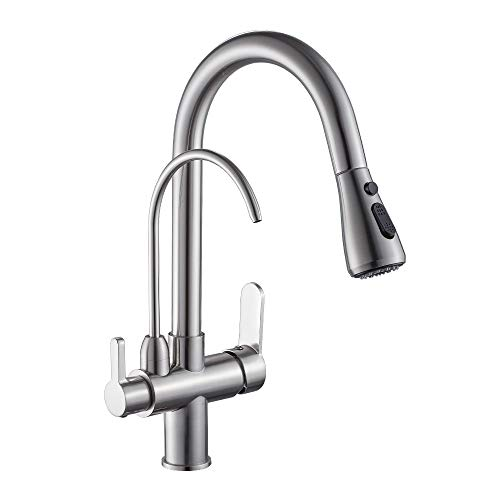 WANFAN Modern Kitchen Faucet Pull Out Kitchen Sink Faucet Dual Handle 3 in 1 High Arc Water Filter Purifier Faucets Brushed Nickel ()