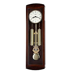 30-inch Tall Deluxe Solid Wood Mahogany Pendulum Wall Clock with Rich Dual 4 by 4 Chime and Strike An Hourly, Night off - P00054