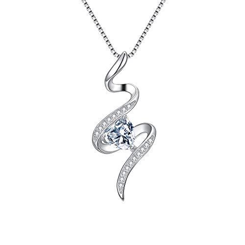 (BriLove Women 925 Sterling Silver CZ Only One Eternal Love Heart Shape Spiral Swirl Pendant Necklace Clear)