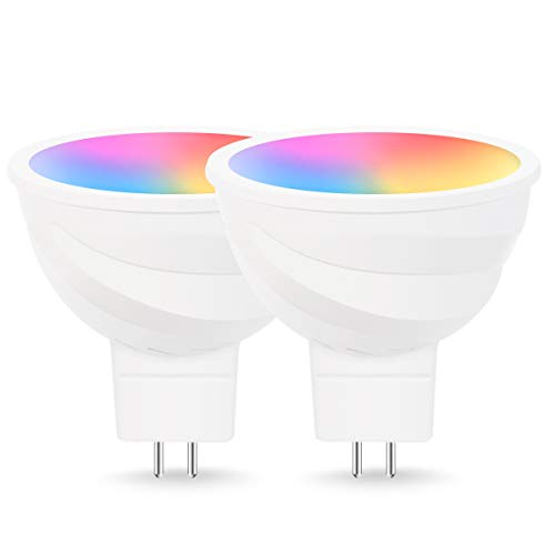 LOHAS LED WIFI MR16 Light Bulb, 12V Smart GU5.3 Base Mini Spot Light RGB Warm White(2700k) Color Changing 5W Equal to 50W Halogen Bulb, Remote Control Compatible with Alexa Google Assistant 2Pack