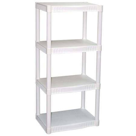 4-Tier Heavy-Duty, Durable, Impact and Rust-Resistant Plastic Shelves, White (1) (Plastic Tier)