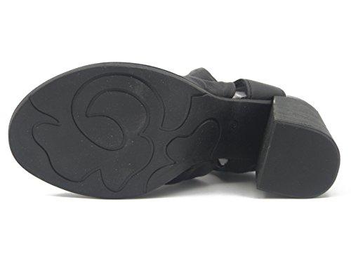 OSVALDO PERICOLI Mjus, Sandalo in Pelle Colore Nero, Tacco 9cm, 780001