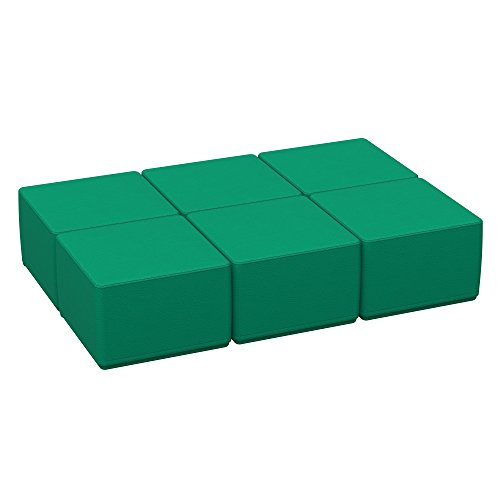 ECR4Kids Softzone 18'' Square Ottoman - Furniture for Kids, Junior 12'' H, (6-Piece Set) Emerald by ECR4Kids