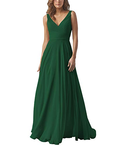 Yilis Double V Neck Pleated Chiffon Evening Formal Gowns A-line Long Wedding Party Dress Emerald Green US10