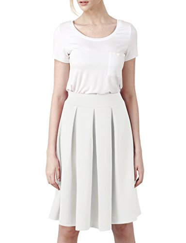 Elbon Boutique Womens Casual Comfy Elastic Wide Band Pleated Midi Skirt WHITE XL (Forever 21 Men Leather Jacket)
