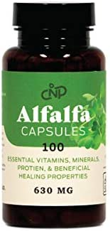 Pure Organic Alfalfa Leaf Medicago Sativa - 100 Capsules - 460mg of Pure Dried Alfalfa Leaf Powder Tablets