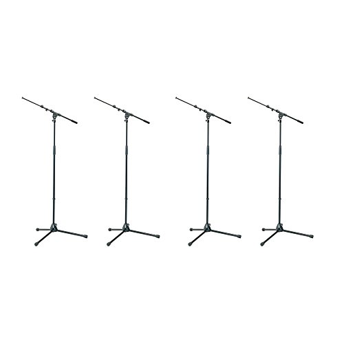 K&M Tour Grade Tripod Mic Stands with Adjustable Telescoping 18-30 inch Boom. Height 35 - 63 inches Qty 4 by K&M (Image #2)