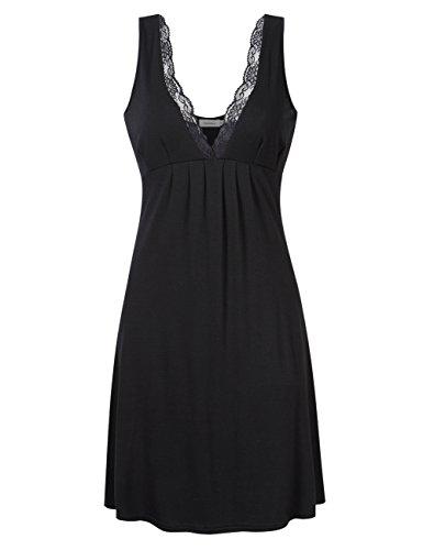 Coolmee Women Deep V-Neck Lace Trim Sleeveless Nightgown Sleepwear Empire Babydoll Lingerie Night Dress