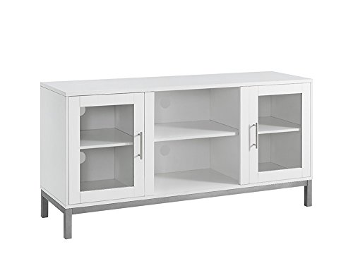 We Furniture 52 White Avenue Wood Tv Stand Console With Metal Legs For Flat Screen Tvs Up To